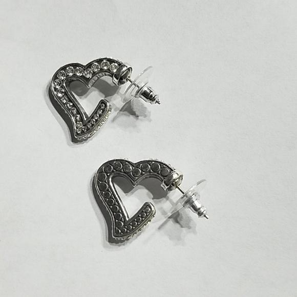 Jewelry - Silver tone w/ Crystals Heart Hoop Earrings